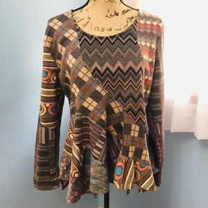 Sacred Threads Long Sleeve Patchwork Top